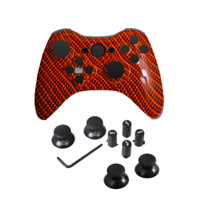 Orange Black Carbon Fiber Evil D-Pad Faceplate Only Kit