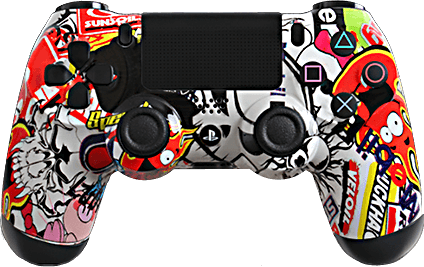 PS4 Evil MasterMod Extreme Sticker Bomb Modded Controller