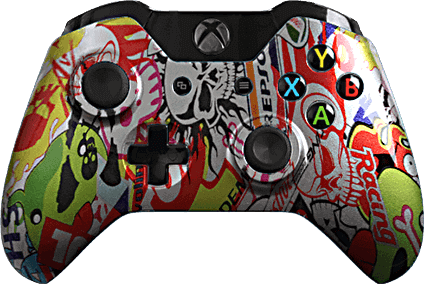 Xbox One Evil MasterMod Extreme Silver Sticker Bomb Modded Controller